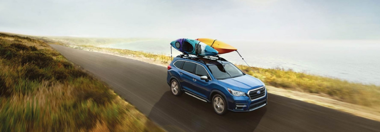 The 2019 Subaru Ascent with 2 kayaks on the roof.