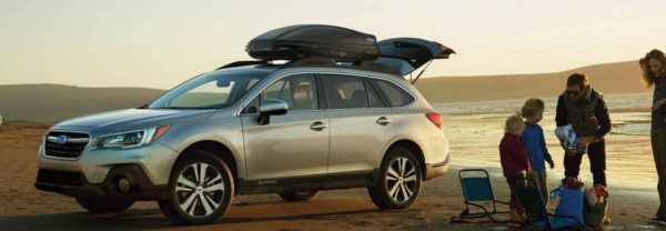 The 2018 Subaru Outback and a family at the beach in a blog post about Subaru cars.