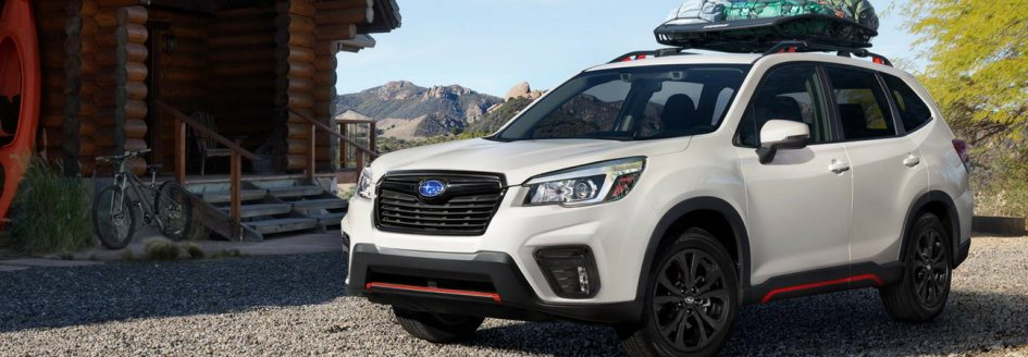 2019 Subaru Forester parked in mountains